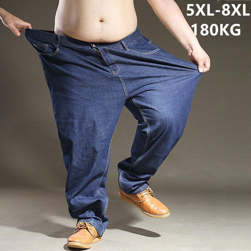 Große Größe Blau Jeans Männer 5XL 6XL 7XL 8XL Schwarz Extra Große Übergröße Herren Elastische stretch Denim Hosen Männlichen Jean marke Hosen