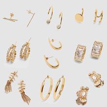 Girlgo Vintage pendientes maxi de metal Color dorado ZA para mujer moda geométrica lujo gota pendientes joyería novia regalo Bijoux
