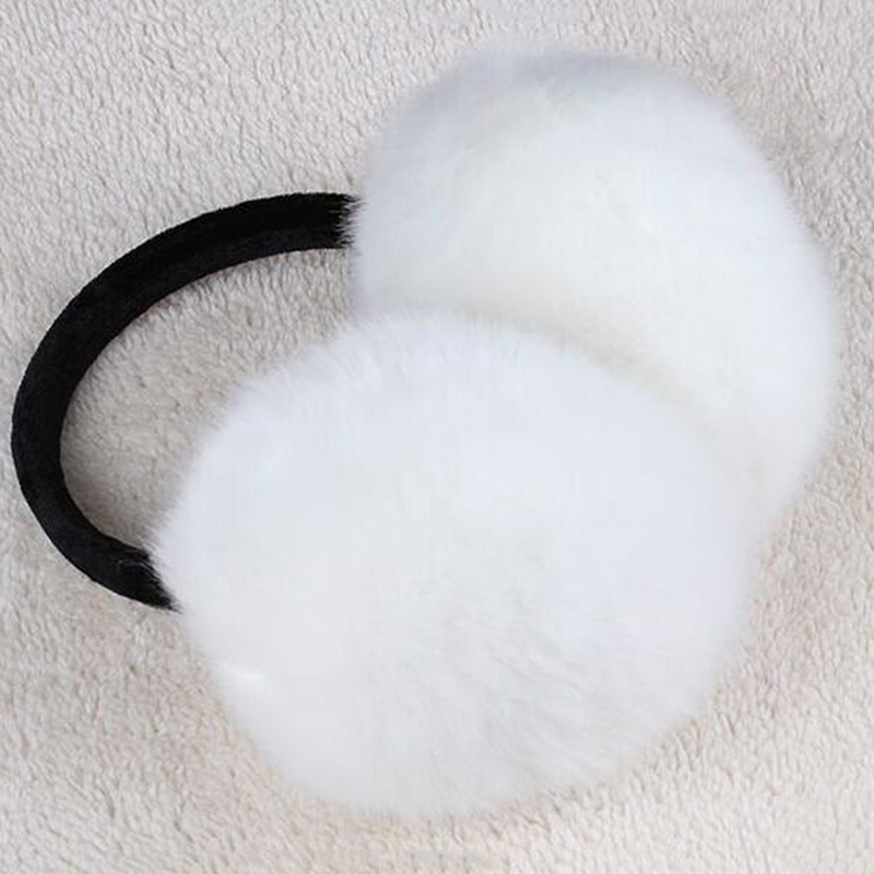 Solid Women Foldable Winter Earmuffs Faux Fur Hamburger Ear Warmer Plush Headgear Fur Headphones Ear Muffs