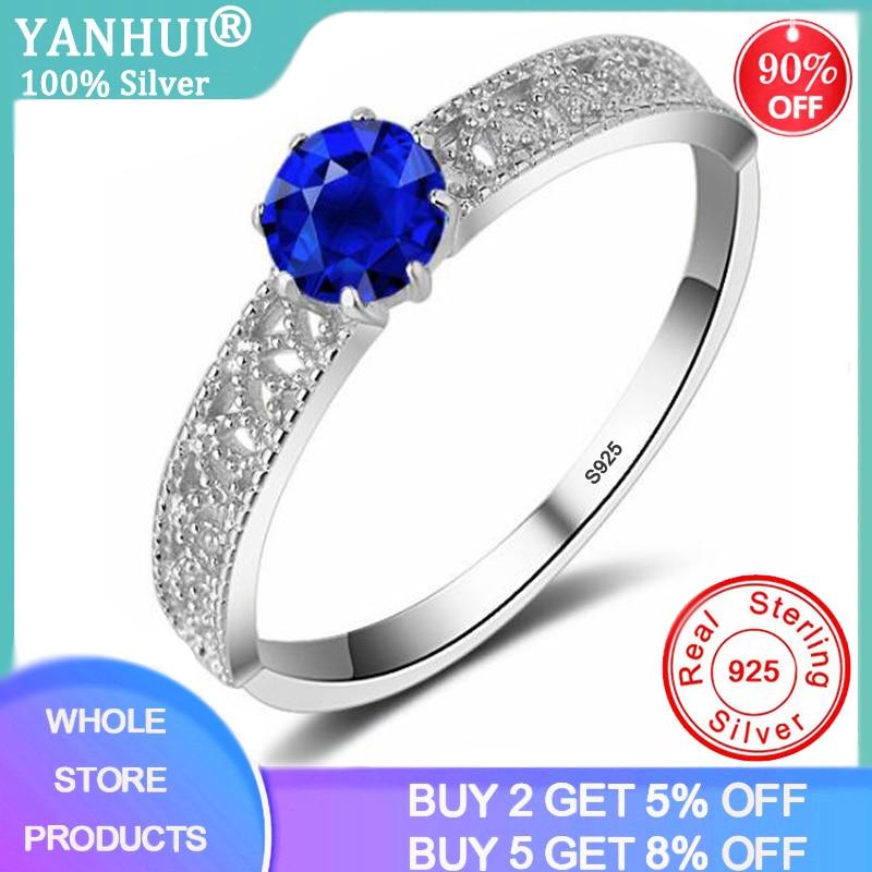 YANHUI Princess Diana William Kate Lab Sapphire Gemstone Rings for Women Wedding Engagement Band Silver 925 Jewelry R060