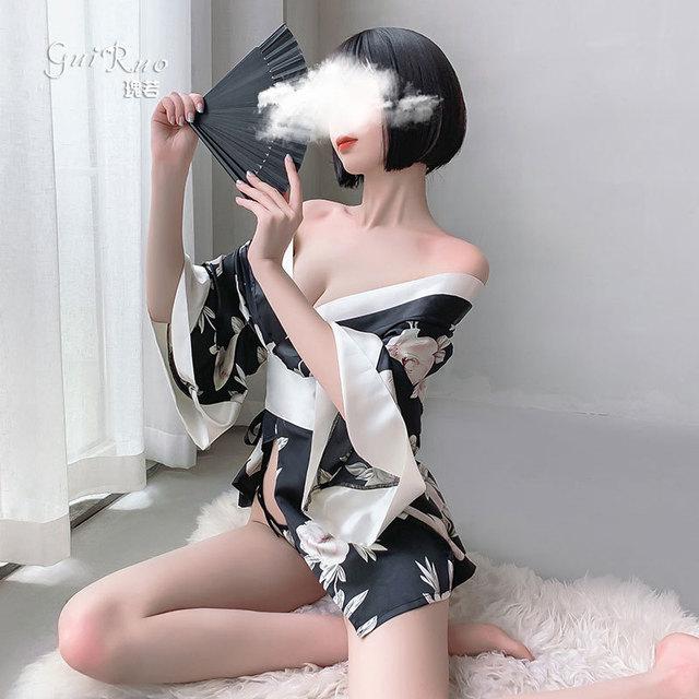 Details about  /Sexy Lady Sakura Japanese Kimono Uniform Floral Bow Belt V Neck Bathrobe Wuqi1