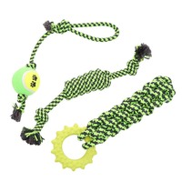 #2Pet Supply Dogs Chew Teeth Clean Rope Set Outdoor Traning Fun Playing Green Rope Ball Toy For Large Small Dog CatCM