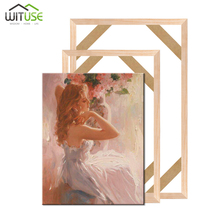 Natural Wood Frame For Canvas Painting Picture DIY Picture Frames Wall Photo Frame Poster Hanger Marco Foto Canvas Frame Bar