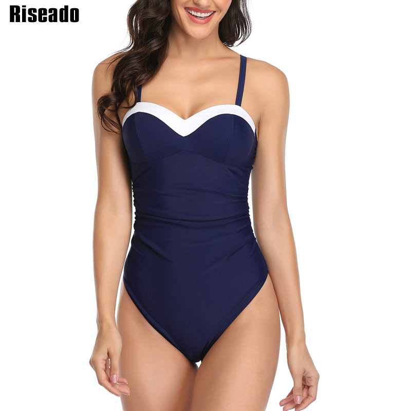 Image 2 - Riseado Push Up One Piece Swimsuits Patchwork Swimsuits Female Black Swimwear Women 2020 Ruched Strap Beach Wear Bathers    -