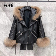 Pudi women genuine leather jacket winter brand new female sheep leather coat with real fox fur collar H200203(China)