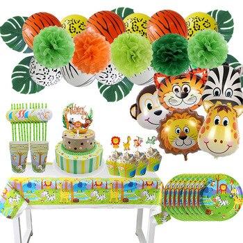 Набор посуды для вечеринки в стиле сафари, украшение на день рождения, Детские тарелки, шляпы, скатерть, соломенные животные, джунгли, товары...
