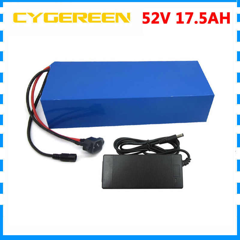 Free shipping 1000W 52V Lithium battery pack 52V 17.5AH 18AH ebike battery use Samsung 3500mah cell 30A BMS