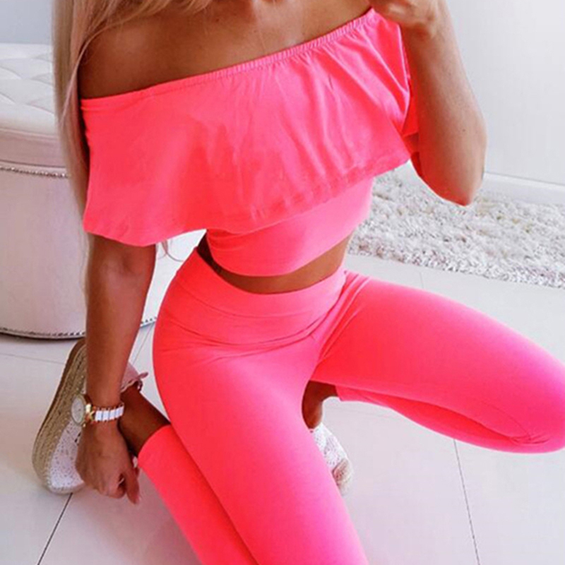 Woman Sexy Set Summer Lady Solid Slash Neck Tank Top +long Pants Suit Lady two-pices Casual Set Robe Femme