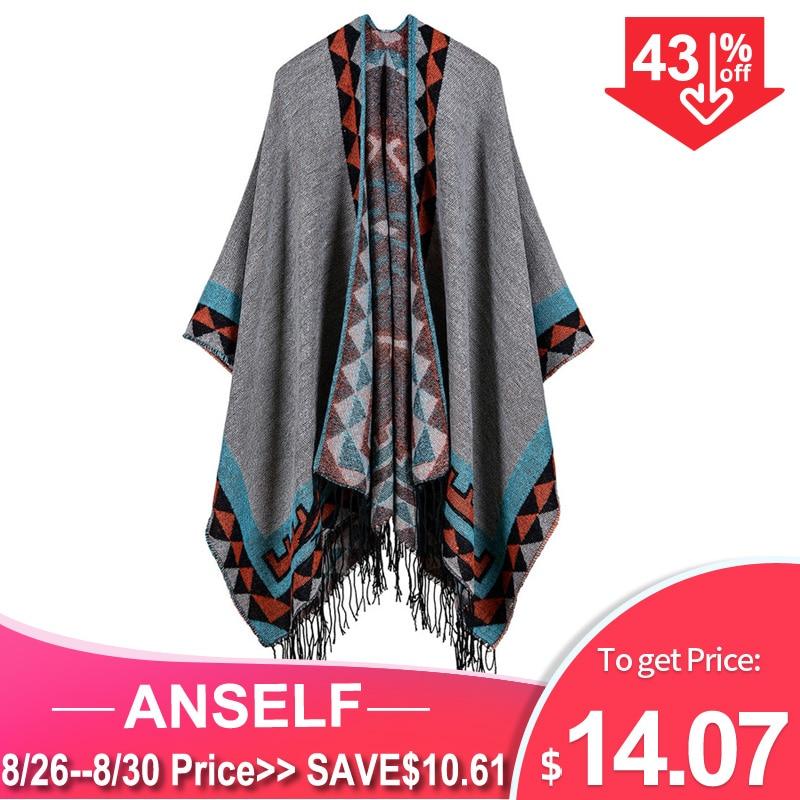 Anself Oversized Sweater Cardigan Warm-Cape Tassel Poncho Winter Boho Pull-Femme Geometric-Pattern
