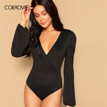 COLROVIE Black Surplice Neck Slim Fitted Bodysuit Women Bishop Sleeve Skinny Bodysuit 2019 Summer Streetwear Sexy Bodysuits