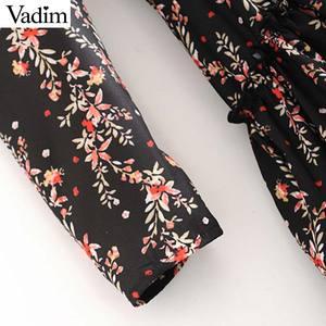 Image 4 - Vadim women elegant ruffled floral print dress long sleeve o neck midi dress female retro sweet dresses vestidos QC802