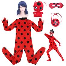 Fancy Lady Bug wielkanoc Cosplay kombinezon Halloween kostiumy dziewczyny dzieci elastan biedronka kostiumy dla dzieci garnitur peruka torba dziewczyny tanie tanio Prowow Kombinezony i pajacyki Film i TELEWIZJA Zestawy Poliester Spandex Ladybug Costumes