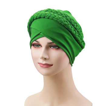 Braid Turban Hats Muslim Women Forehead Cross Headscarf Hijab Caps Stretch Milk Silk Chemo Cap Islamic Ladies Hair Accessories