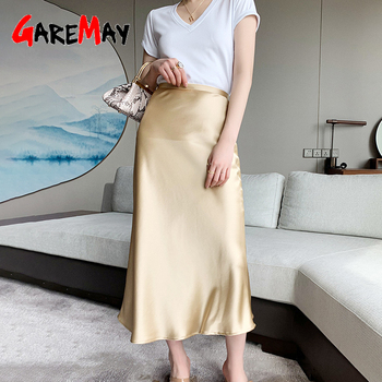 2021 New Women's Summer Skirt Office High Waist Green 2 Piece Set Skirts Straight Silk Satin Skirt Midi and Top for Women Purple 1