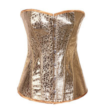 Fashion Faux Leather Corset 6XL Bustier Top Gold Overbust Corset Sexy Nightclub Clothing Steampunk Corset Sexy Lingerie(China)