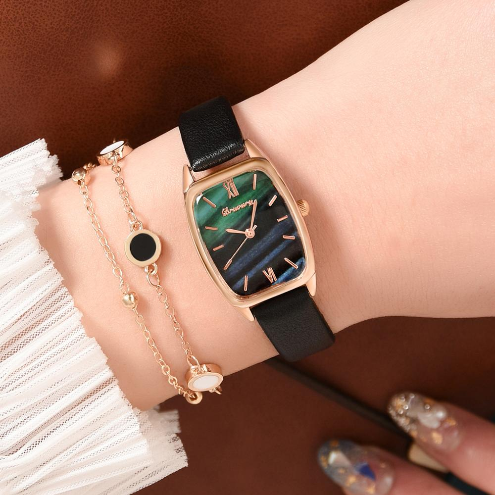 Luxury Women's Watches Bracelet Set Simple Ladies Women Watch Casual Leather Quartz Wristwatch Girl Clock Relogio Feminino
