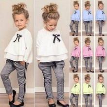 Одежда для маленьких девочек Футболка с оборками Топы+ штаны в клетку, комплект одежды с длинными рукавами, осенне-зимняя одежда Ensemble Ropa