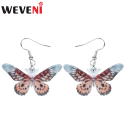 WEVENI Acrylic Spot Brown Papilio Memnon Butterfly Earrings Print Insect Animal Dangle Drop For Women Girls Vintage Gift Jewelry