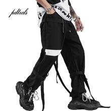 Guo-Chao Tang 2019 Hot Spring/summer Side Pockets Solid Color Hip-hop Streetwear Haren Pants Hipster Ribbon Loose Jogging Pants guo chao tang 2019 new autumn irregularity color patchwork printed plaid men shirts hip hop casual ribbon male shirt streetwear