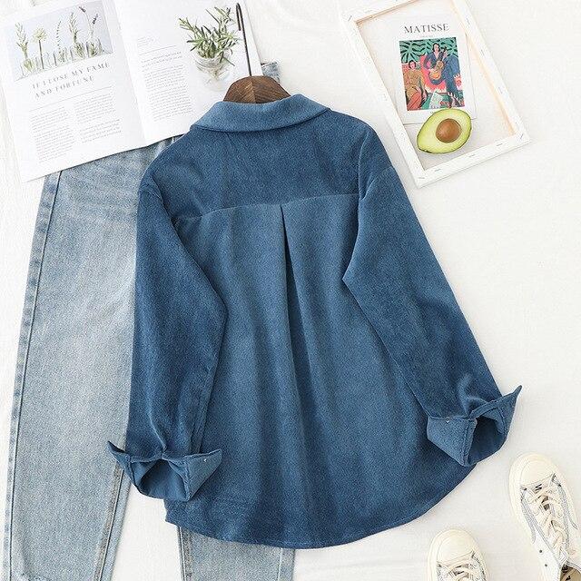 Automne vestes femmes velours côtelé chemises à manches longues en vrac solide montre de sport veste décontractée vêtements féminins 5