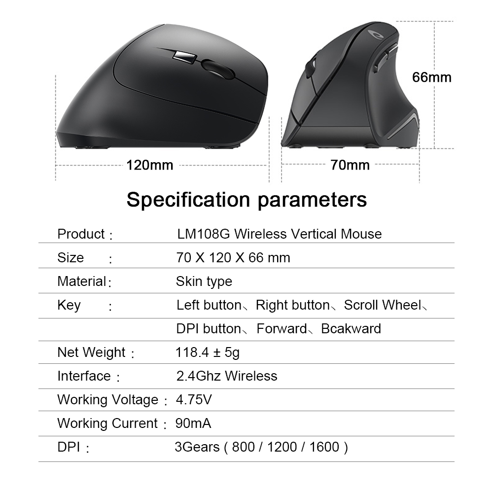 Image 5 - DAREU LM108G 2.4Ghz Wireless Vertical Mouse 6 button 1600 DPI Ergonomic skin type Mice For PC Laptop Computer OfficeMice   -