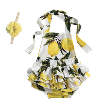 Baby Body-Suits Costumes Jumpsuit-Set Birthday Newborn Girls Cartoon Lemon Print Pattern