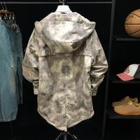 Mens Spring Camouflage Long Jacket Fashion Loose Hooded Tactical Windbreaker Male Streetwear Hip Hop Zipper Tops Coats S 2XL