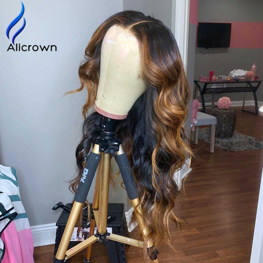 Alicrown 150 Dichtheid Lace Front Human Hair Pruiken Braziliaanse Haar 13*6 Kant 1b/27 Pre Geplukt ombre Menselijk Haar Pruiken Met Baby Haar
