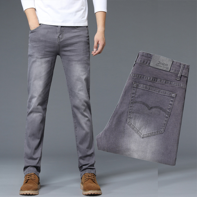 Autumn New Style Retro Gray Slim Fit MEN'S Jeans Elasticity Straight-Cut Versatile High Quality Black And Gray Long Pants
