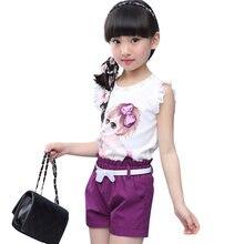 Mädchen Kleidung Set Sommer Cartoon Weste + Kurze Hosen 2 PCS Kinder Kleidung Für Mädchen Teen Kinder Mädchen Kleidung 8 10 12 14 jahr