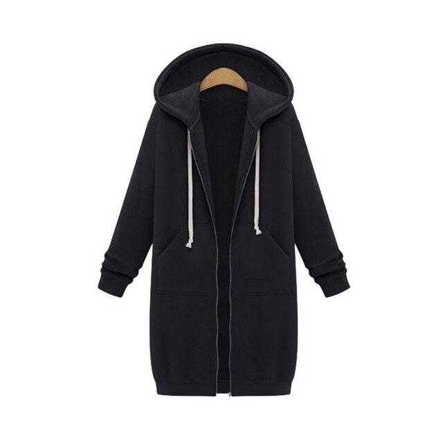Once 2020 Autumn Casual Women Long Hoodies Sweatshirt Coat Zip Up Outerwears Hooded Jacket Winter Pockets Plus Size Outwear Tops 6