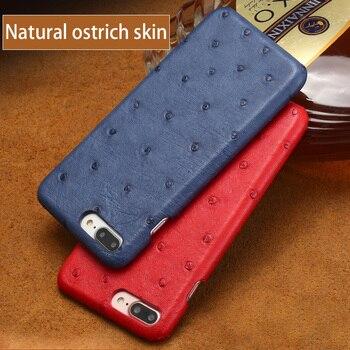 Genuine leather case For iPhone 8PLUS 7plus Original Natural Ostrich skin funda For apple iphone 7 8 6S Plus X 5 5S SE XR XSMAX