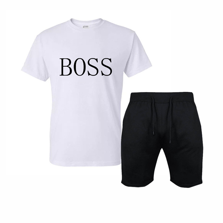 2019 Summer Leisure Suit Boss Lettered Fashion Printed T-shirt Ride Solid Color Cotton Casual Shorts Set