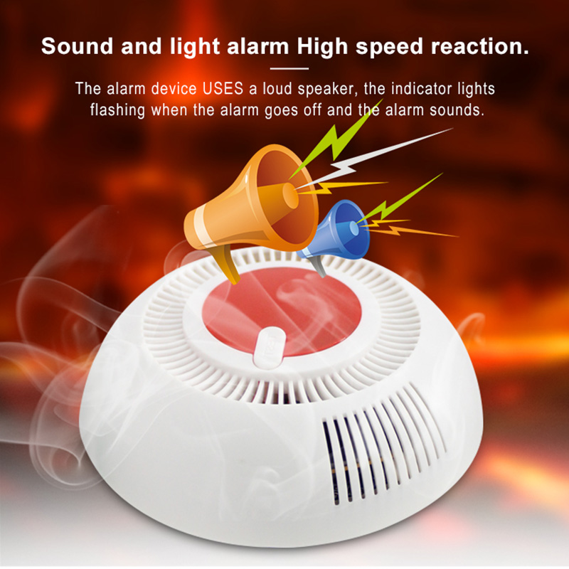 Home Security Smoke Sensor Protection Independent 80 DB Equipment Smoke Detector Sensor For Home Safety Security