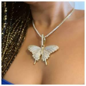 Ожерелье с подвеской в виде крыльев бабочки со льдом на заказ с 12 мм кубинской цепочкой золотого и серебряного цвета, ювелирные изделия в ст...