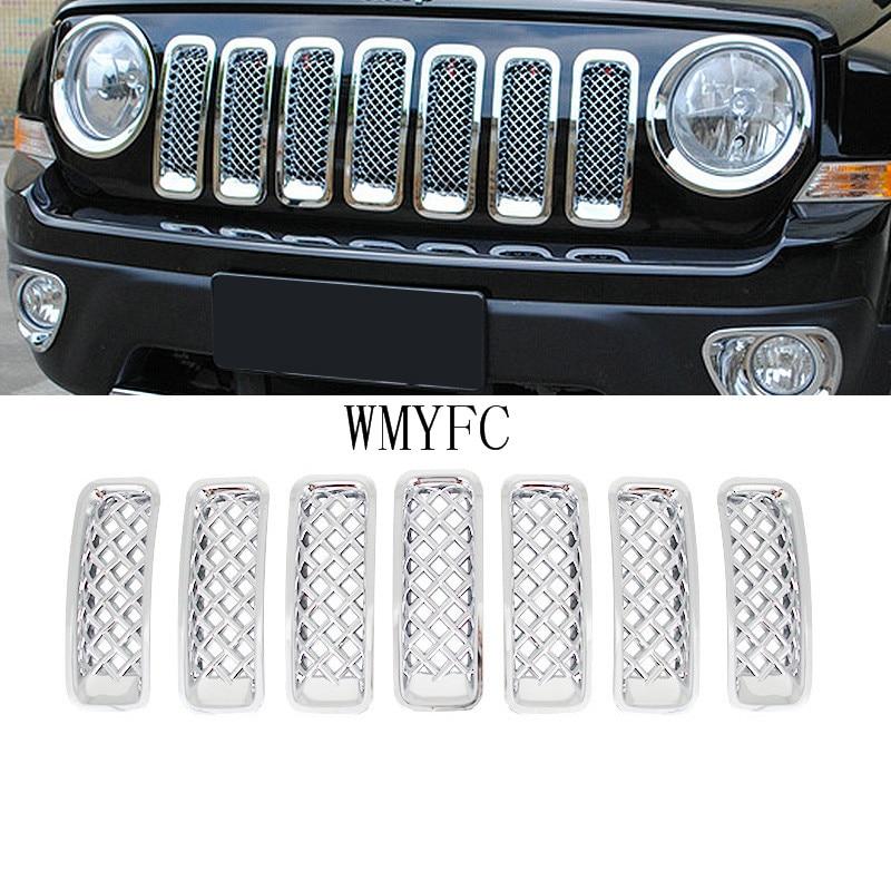 ABS Хром Передняя решетка сетка гриль Вставка комплект крышка для Jeep Патриот 2011 2012 2013 2014 2015 автомобильные Стайлинг Аксессуары 7 шт./компл.