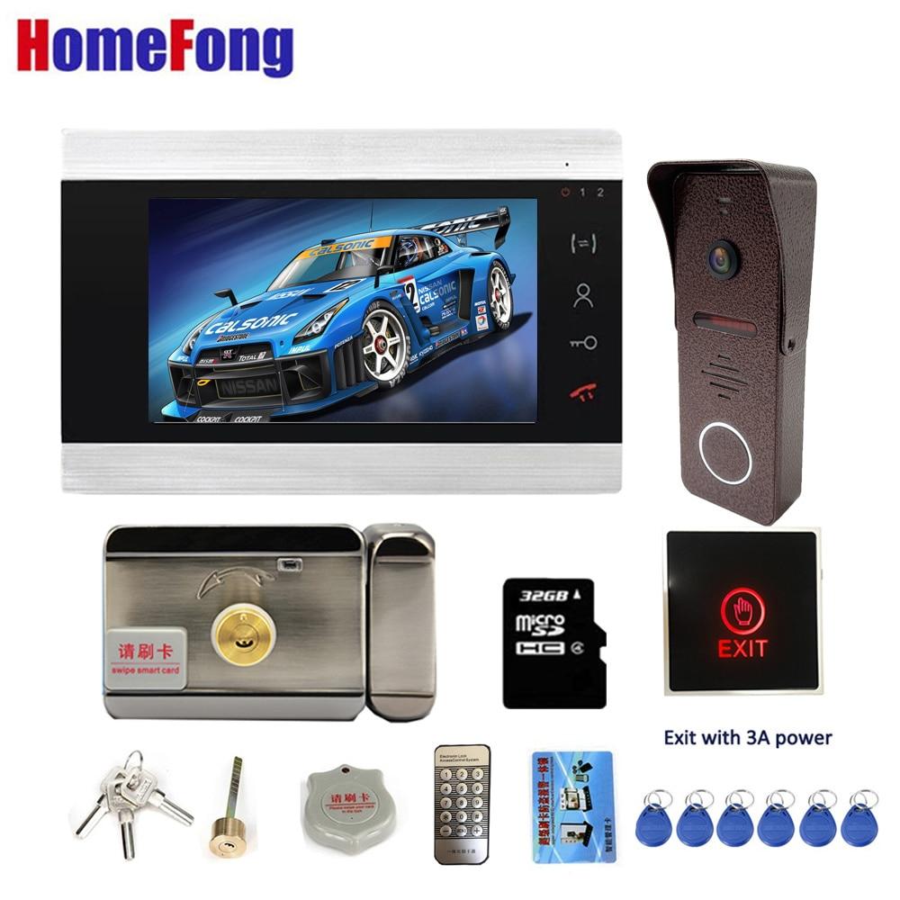 【Video Intercom With Lock】Homefong Video Door Phone Doorbell Camera 7 Inch With Door Release Electronic Lock Unlock Button