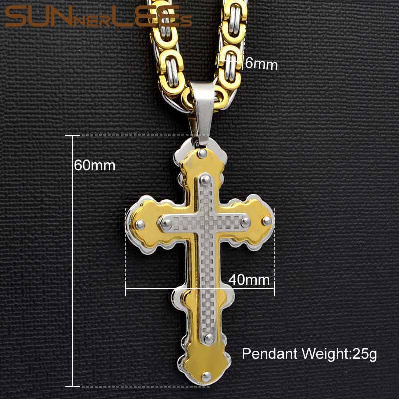 SUNNERLEES stal nierdzewna 316L jezus chrystus krzyż naszyjnik bizantyjski Link Chain srebrny złoty czarny mężczyźni chłopcy prezent SP233