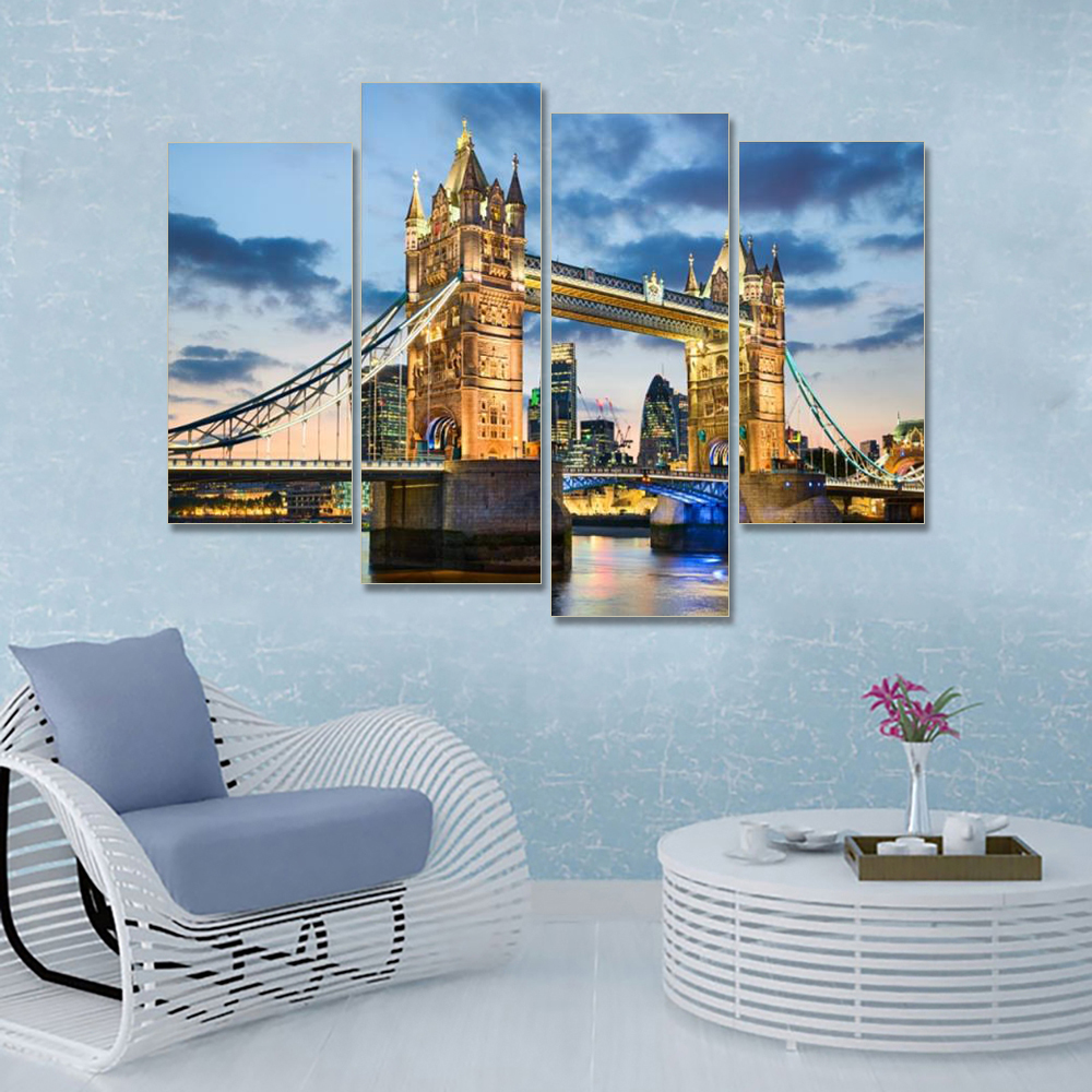 Laeacco 4 Panel Canvas Painting London City Vintage Posters and Prints Landscape Wall Art Picture Living Room Bedroom Home Decor