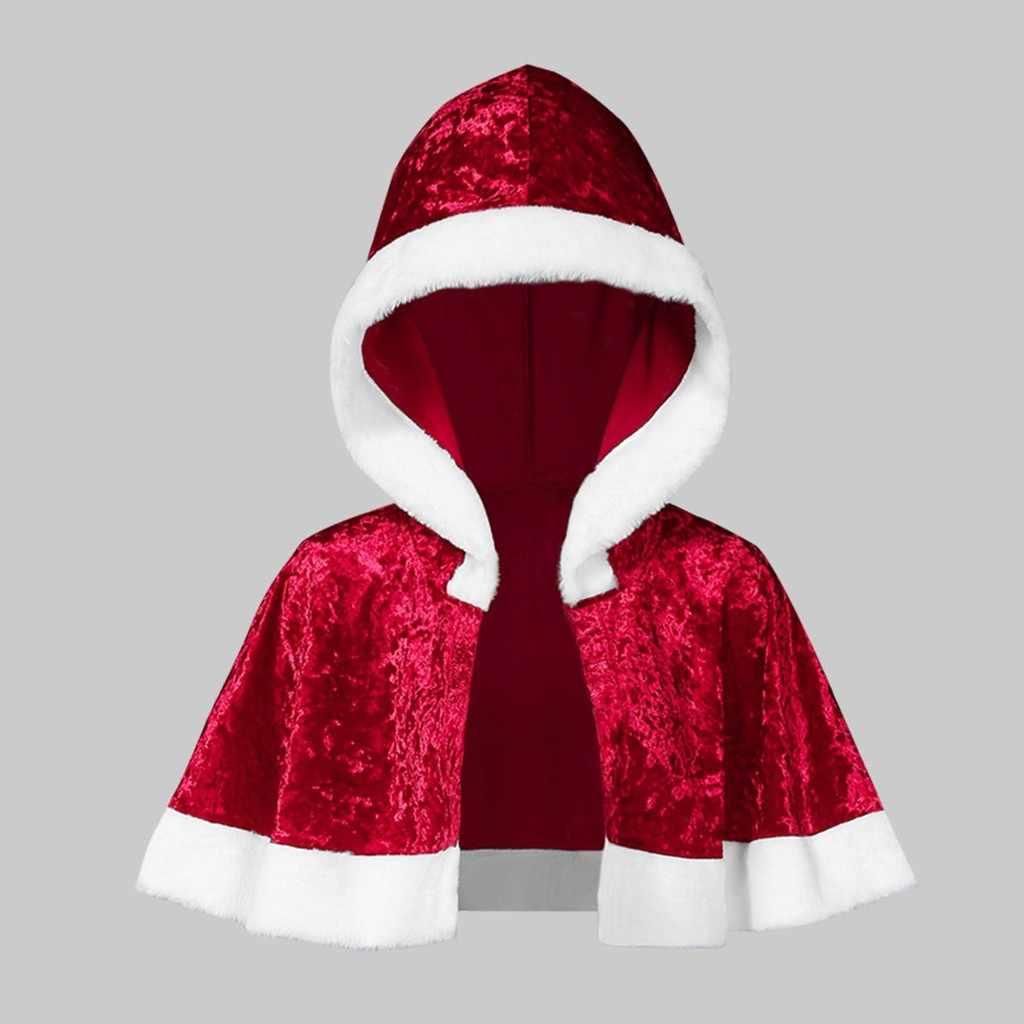 ファッションレディースマント家族マッチングベルベット生き抜く固体カーディガントップスクリスマスフード付きケープサンタコートショートジャケット Blusas