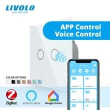 Livolo – interrupteur tactile wifi intelligent Zigbee, contrôle via application, domotique sans fil, echo,alexa,google home