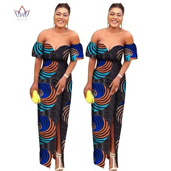 african dresses for women off the shoulder Fashion Design dashiki bazin riche long dress traditional plus size natural WY1733