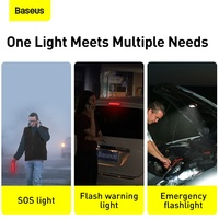 Baseus Solar Emergency Car Flashlight Rechargeable Portable Warning Night Lights Red Police Road LED Light For Camping & Car