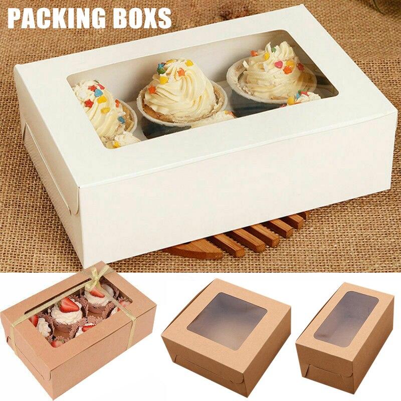 Newly 10PCS 2/4/6 Holes Kraft Paper Cupcake Packing Box Muffin Wedding Party Case Holder Box MK