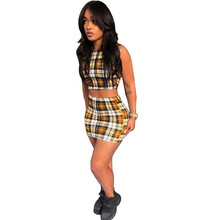 Sexy Women Casual Two Piece Set Halter Fashion Crop Top Bralette And Skirt Yellow Plaid Suits Female Party Clubwear overlap crop top and plaid skirt