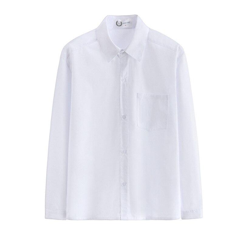 Hot Korean Boys School Uniform College Wind Jk Shirt Summer New V-neck Long Sleeve Work Uniform Student Tops Loose White Shirt