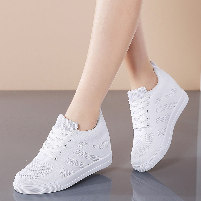 STQ Women Sneakers Height Increasing 6cm Ladies Platform Shoes Lace Up Mesh Casual Sneaker Woman Trainers Black White Shoes 799