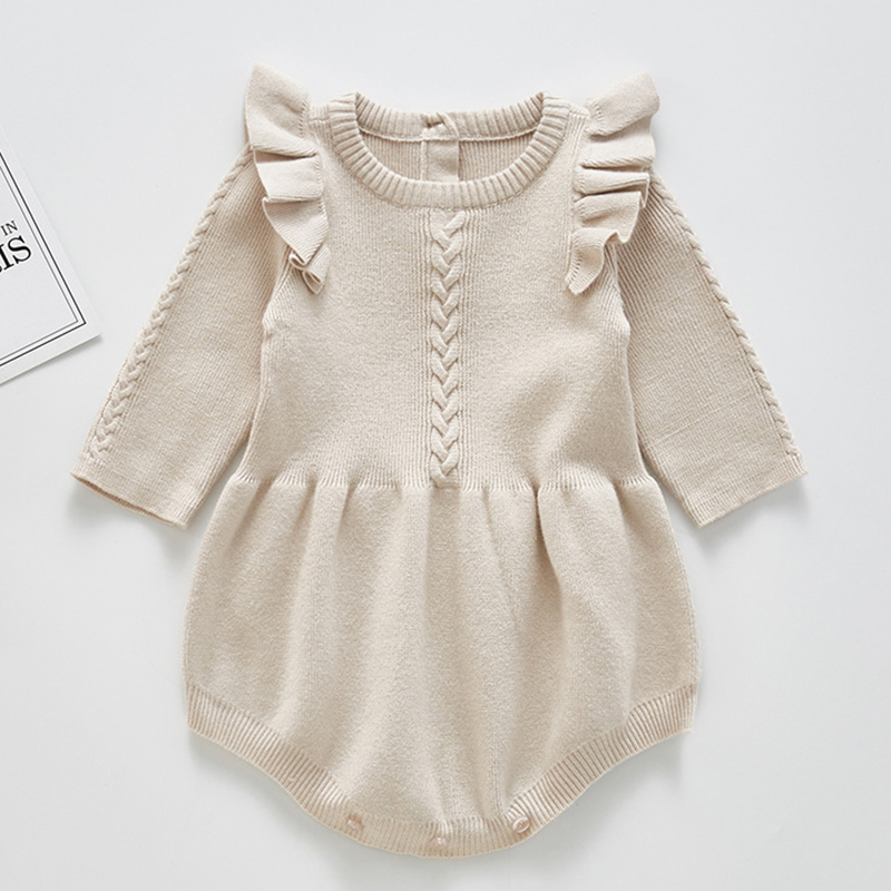 2021 Newborn Baby Girls Boys Knitted Romper Baby Clothes Cotton Woolen Baby Rompers Ruffle Infant Baby Boys Jumpsuit | Happy Baby Mama