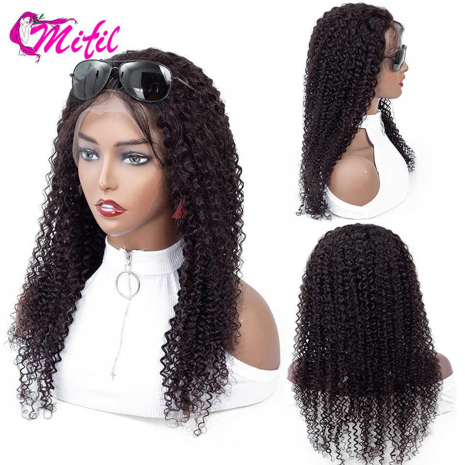 Mifil 13x4 индийская людской волосяной парик, с завитыми по-африкански волосами предварительно вырезанные с детскими волосами Синтетические волосы на кружеве парики для чернокожих Для женщин Remy Синтетические волосы на кружеве парик