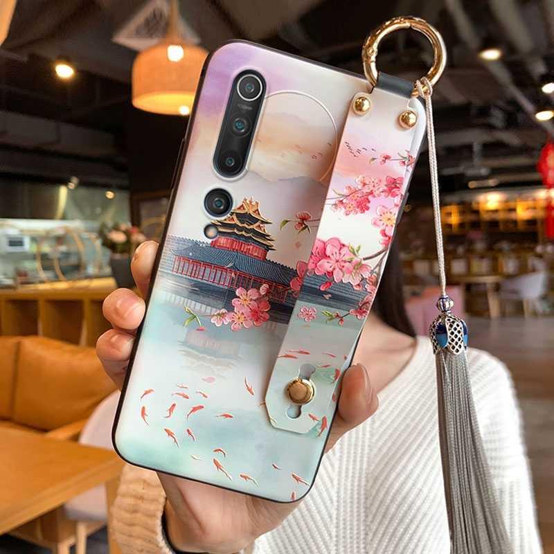 Voor Xiaomi Mi Note 10 CC9 Pro 9 8 9T Mix 3 2S Redmi Note 7 K20 K30 poco X2 Case 3D Reliëf Hand Strap Houder Kwastje Soft Cover